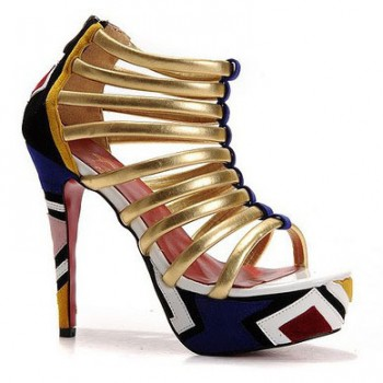 Replica Christian Louboutin Romaine 140mm Ankle Boots Multicolor Cheap Fake Shoes