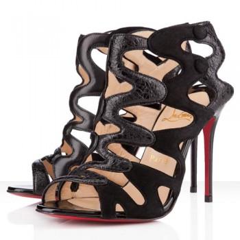 Replica Christian Louboutin Valonana 100mm Ankle Boots Black Cheap Fake Shoes