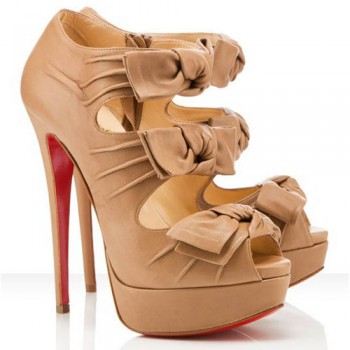 Replica Christian Louboutin Madame Butterfly 140mm Ankle Boots Beige Cheap Fake Shoes