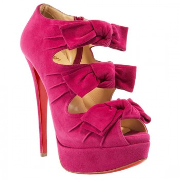 Replica Christian Louboutin Madame Butterfly 140mm Ankle Boots Pink Cheap Fake Shoes