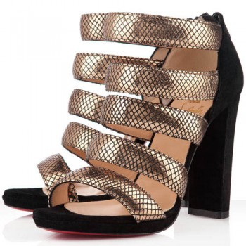 Replica Christian Louboutin Mehari 120mm Ankle Boots Gold Cheap Fake Shoes