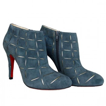 Replica Christian Louboutin Globe 100mm Ankle Boots Blue Cheap Fake Shoes