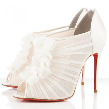 Replica Christian Louboutin Canonita 100mm Ankle Boots White Cheap Fake Shoes