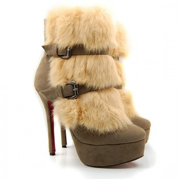 Replica Christian Louboutin Toundra Fur 120mm Ankle Boots Beige Cheap Fake Shoes