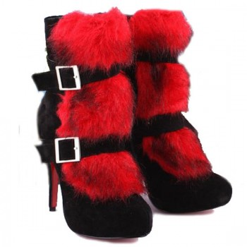 Replica Christian Louboutin Toundra Fur 120mm Ankle Boots Red Cheap Fake Shoes
