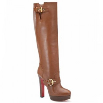 Replica Christian Louboutin Harletty 140mm Boots Brown Cheap Fake Shoes