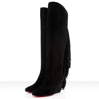 Replica Christian Louboutin Pouliche 80mm Boots Black Cheap Fake Shoes