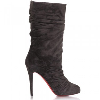 Replica Christian Louboutin Velours Scrunch 100mm Boots Chocolate Cheap Fake Shoes