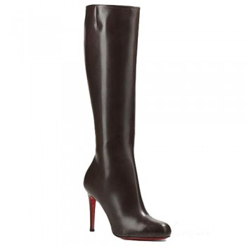 Replica Christian Louboutin Simple Botta 100mm Boots Chocolate Cheap Fake Shoes