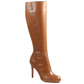 Replica Christian Louboutin Simple Botta 100mm Boots Brown Cheap Fake Shoes
