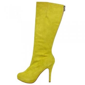 Replica Christian Louboutin Simple Botta 100mm Boots Yellow Cheap Fake Shoes
