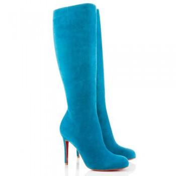 Replica Christian Louboutin Simple Botta 100mm Boots Blue Cheap Fake Shoes