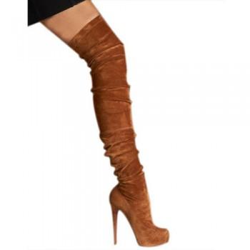 Replica Christian Louboutin Gazolina 140mm Boots Chocolate Cheap Fake Shoes