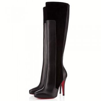 Replica Christian Louboutin Ysa 100mm Boots Black Cheap Fake Shoes