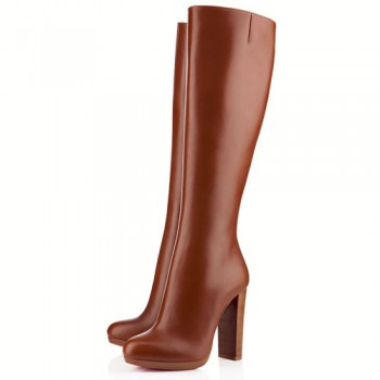 Replica Christian Louboutin MiraBelle 120mm Boots Brown Cheap Fake Shoes