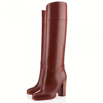 Replica Christian Louboutin Dartata 80mm Boots Chocolate Cheap Fake Shoes
