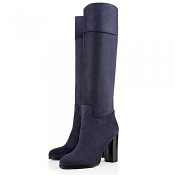 Replica Christian Louboutin Dartata 80mm Boots Navy Cheap Fake Shoes
