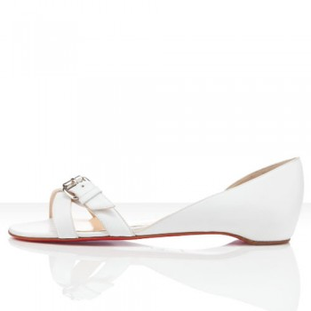 Replica Christian Louboutin Atalanta Flat Sandals White Cheap Fake Shoes