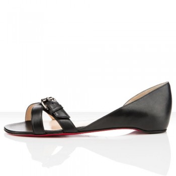 Replica Christian Louboutin Atalanta Flat Sandals Black Cheap Fake Shoes