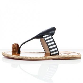 Replica Christian Louboutin Hola nina Flat Sandals Navy Cheap Fake Shoes