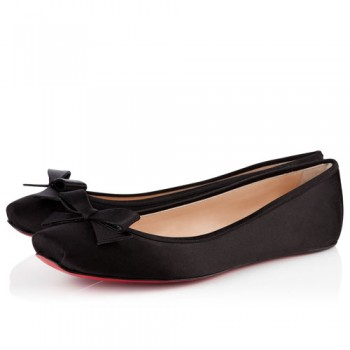 Replica Christian Louboutin Boudoir Satin Ballerinas Black Cheap Fake Shoes