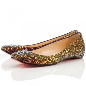 Replica Christian Louboutin Gozul Strass Ballerinas Dark Parme Cheap Fake Shoes