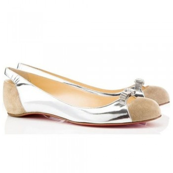 Replica Christian Louboutin Silver Ballerinas Cheap Fake Shoes