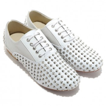 Replica Christian Louboutin Fred Spikes Loafers White Cheap Fake Shoes