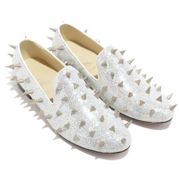 Replica Christian Louboutin Rollergirl Loafers White Cheap Fake Shoes