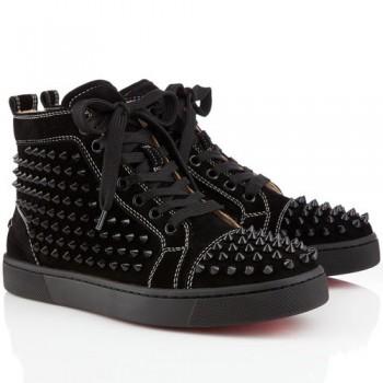 Replica Christian Louboutin Louis Spikes Sneakers Black Cheap Fake Shoes