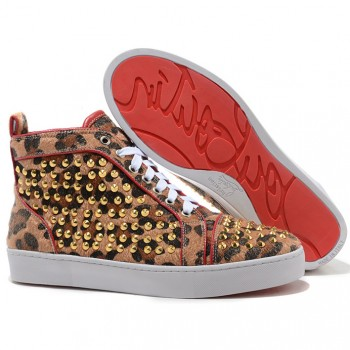 Replica Christian Louboutin Louis Gold Spikes Sneakers Leopard Cheap Fake Shoes