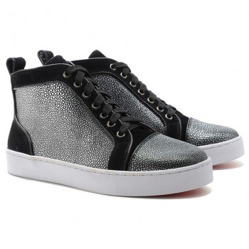 Replica Christian Louboutin Louis Jeweled Sneakers Black Cheap Fake Shoes