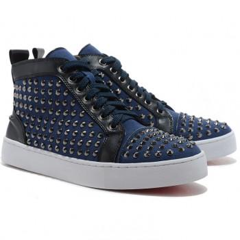Replica Christian Louboutin Louis Spikes Sneakers Blue Cheap Fake Shoes