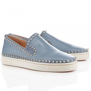 Replica Christian Louboutin Pik Boat Sandals Light Grey Cheap Fake Shoes