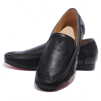 Replica Christian Louboutin Croc Maroc Loafers Black Cheap Fake Shoes