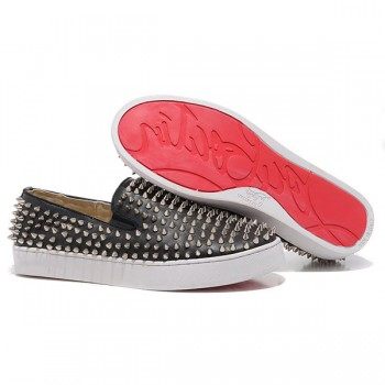 Replica Christian Louboutin Roller Boat Loafers Black Cheap Fake Shoes