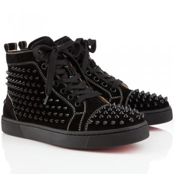 Replica Christian Louboutin Louis Spikes Sneakers Black Cheap Fake Shoes