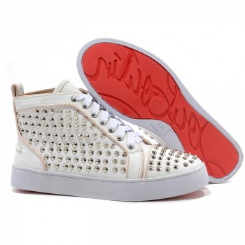 Replica Christian Louboutin Louis Silver Spikes Sneakers White Cheap Fake Shoes