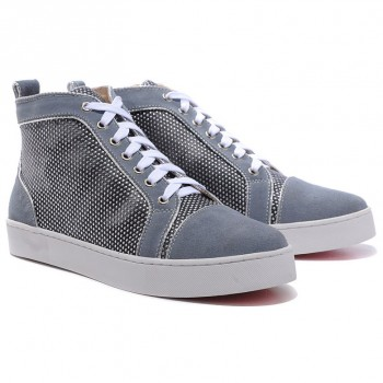 Replica Christian Louboutin Louis Rhinestones Sneakers Grey Cheap Fake Shoes