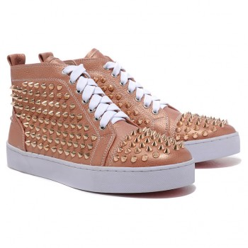 Replica Christian Louboutin Louis Gold Spikes Sneakers Taupe Cheap Fake Shoes
