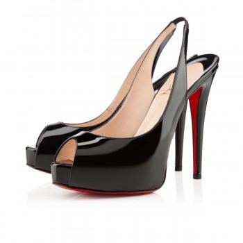 Replica Christian Louboutin Flo 120mm Slingbacks Black Cheap Fake Shoes