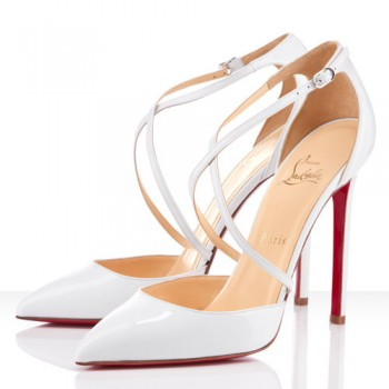 Replica Christian Louboutin Crosspiga 120mm Pumps White Cheap Fake Shoes