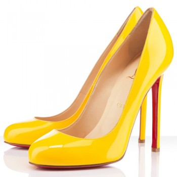 Replica Christian Louboutin Lady Lynch 120mm Pumps Yellow Cheap Fake Shoes