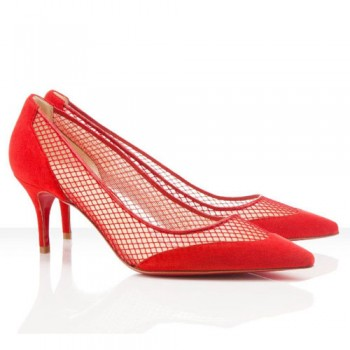 Replica Christian Louboutin Mireille Mesh 80mm Pumps Red Cheap Fake Shoes