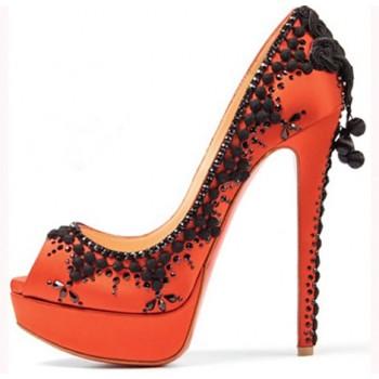 Replica Christian Louboutin Torero 140mm Peep Toe Pumps Orange Cheap Fake Shoes