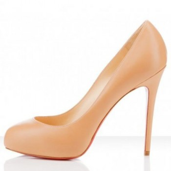 Replica Christian Louboutin New Declic 120mm Pumps Beige Cheap Fake Shoes