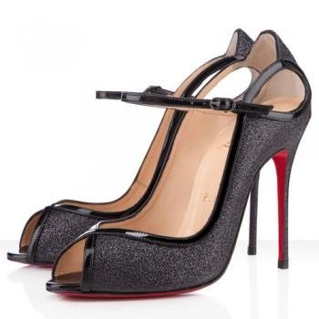 Replica Christian Louboutin 1en8 100mm Peep Toe Pumps Black Cheap Fake Shoes