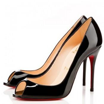 Replica Christian Louboutin Sexy 100mm Peep Toe Pumps Black Cheap Fake Shoes