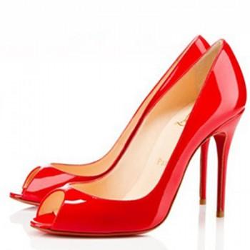 Replica Christian Louboutin Sexy 100mm Peep Toe Pumps Red Cheap Fake Shoes