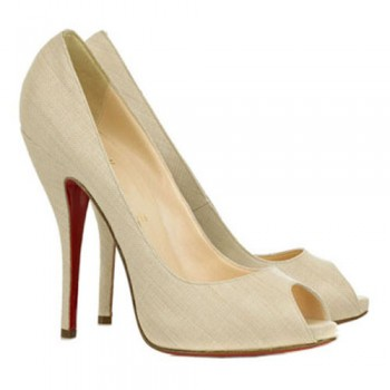 Replica Christian Louboutin Titi 120mm Peep Toe Pumps Beige Cheap Fake Shoes